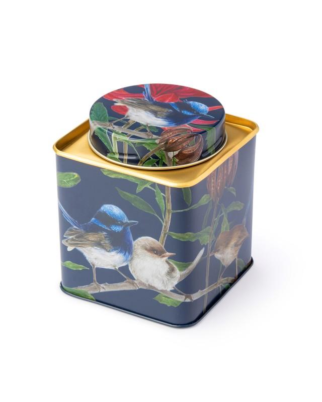 Australian birds blue wren small tea caddy
