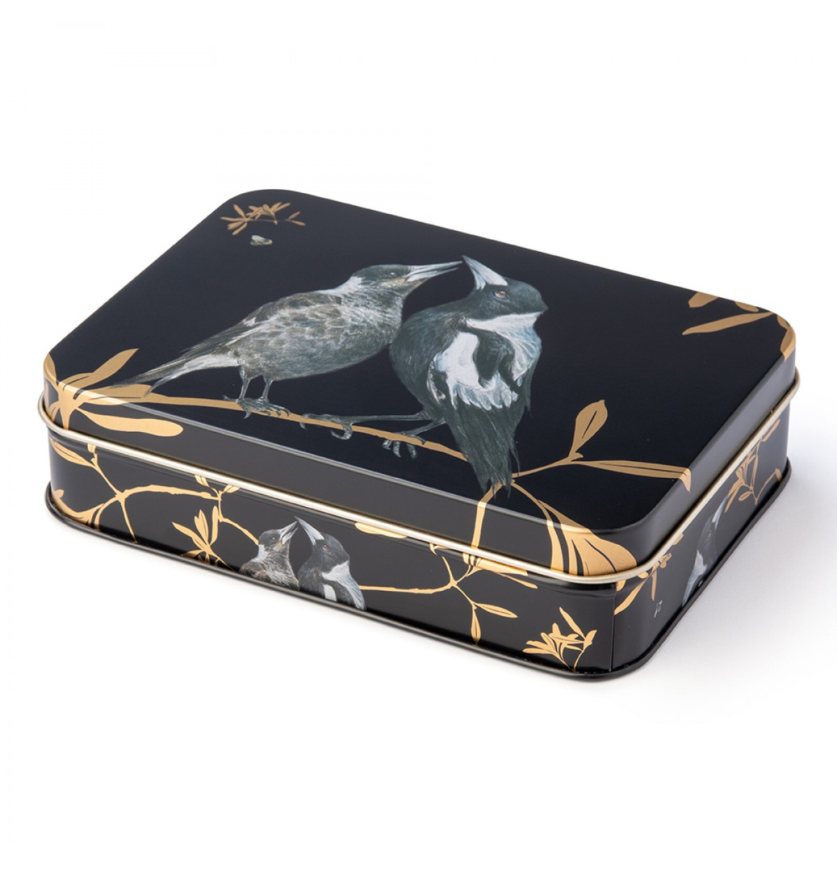 Australian birds magpie small rectangle tin