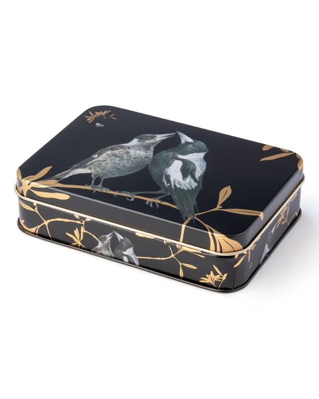 Australian birds magpie small rectangle tin